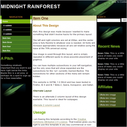 Midnight Rainforest Template