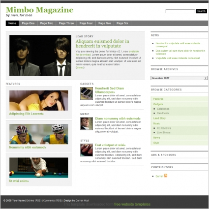 mimbo magazine template free website templates in css html js