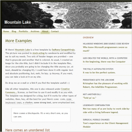 Mountain Lake Template