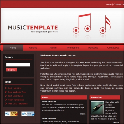 Music school template free website templates in css, html, js.