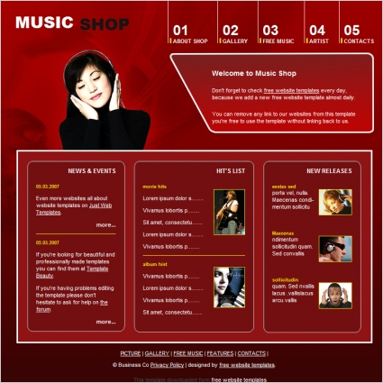 Music Shop Template Free Website Templates In Css Html Js Format - Music website templates