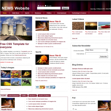 news free website templates in css html js format for free