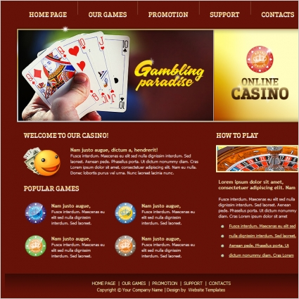 online casino template free website templates in css html js