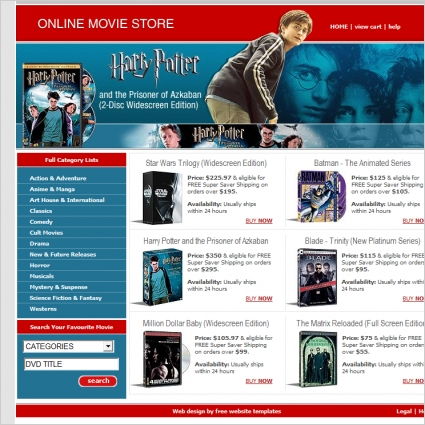 online movie store template free website templates in css html js