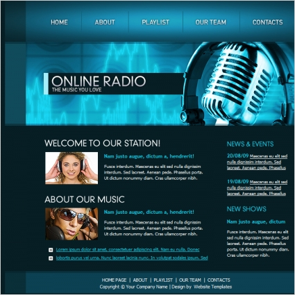 online radio template free website templates in css html js format