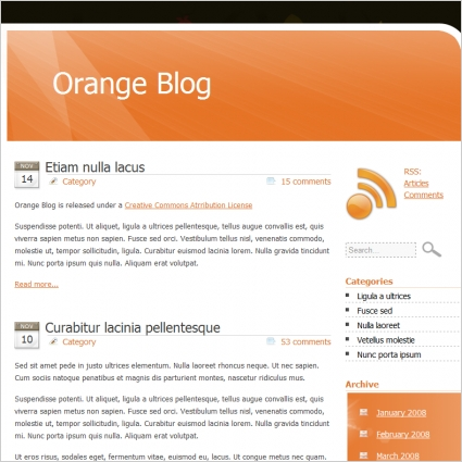 Orange blog template free website templates in css html js format orange blog template maxwellsz