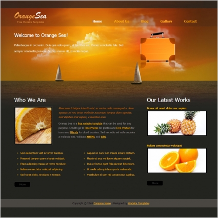 Orange sea free website templates in css html js format for Basic dreamweaver templates