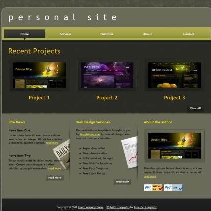 personal free website templates in css html js format for free