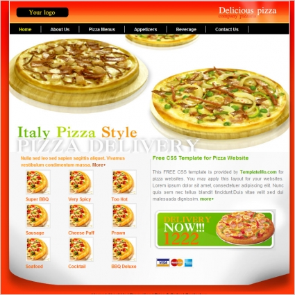 pizza Free website templates in css, html, js format for