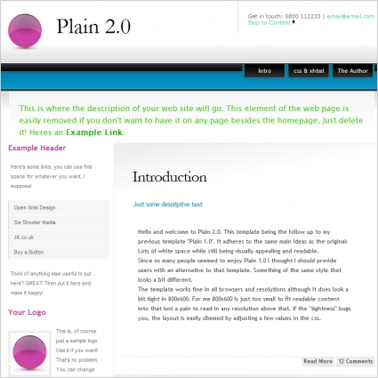 Plain 20 Template Free Website Templates In Css Html Js
