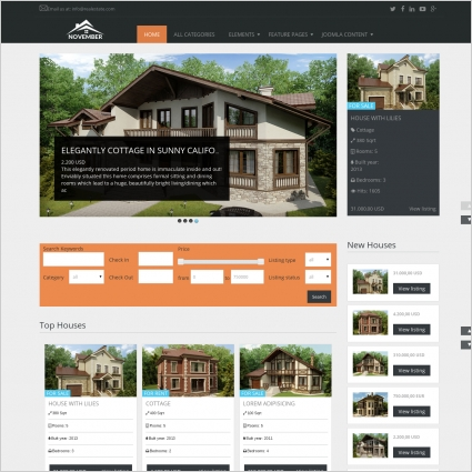 real estate november free joomla template