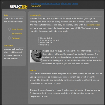 reflection template free website templates in css html js format