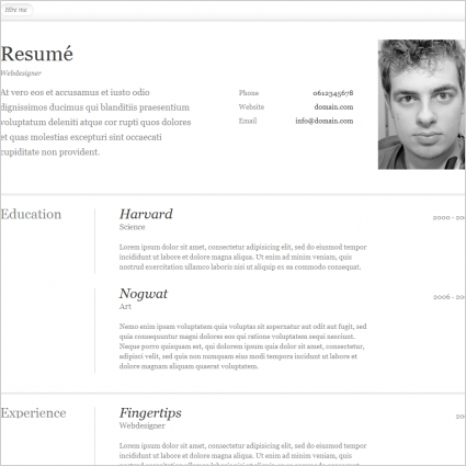 Resume Template Free Website Templates In Css Html Js Format For