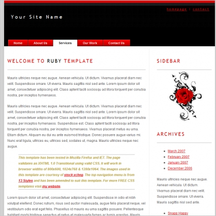 Ruby Template Free website templates in css, html, js format for ...
