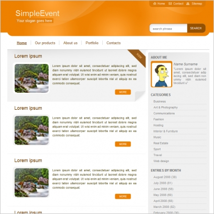simple event template