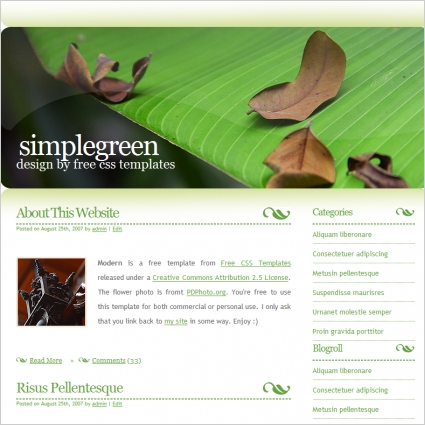 simple green free website templates in css html js format for free