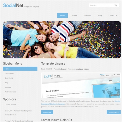 social net template free website templates in css html js format
