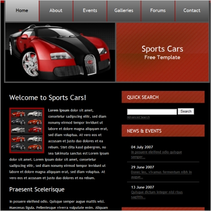 Sports Cars Template