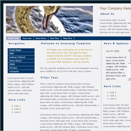 Swan song Template Free website templates in css, html, js