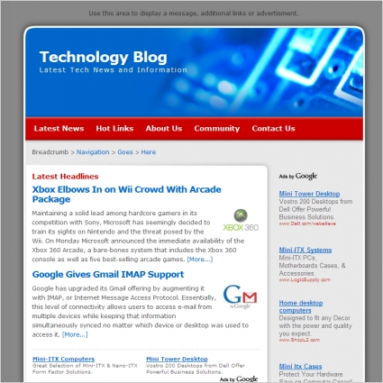 technology blog template free website templates in css html js