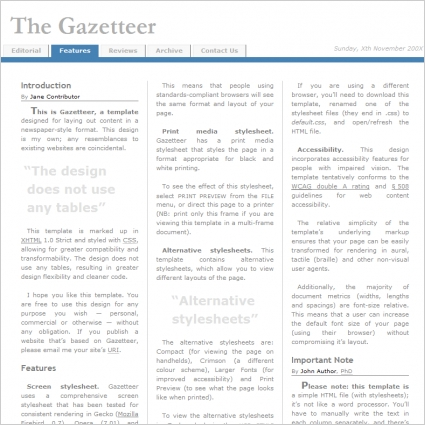 The Gazetteer Template