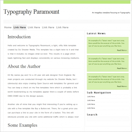 Typography Paramount Template