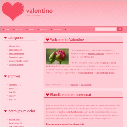Valentine Free website templates in css, html, js format for free ...