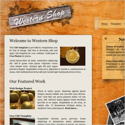 western shop free website templates in css html js format for free