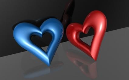 3D Hearts Wallpaper Abstract 3D