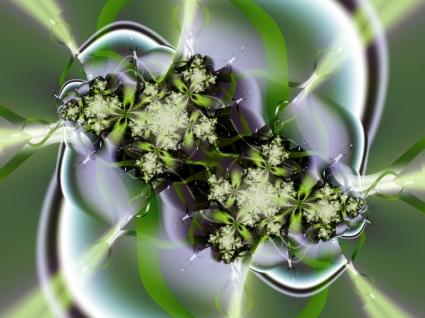 Abstract green flower Wallpaper Fractal Other