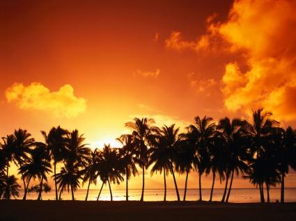 Aitutaki Island at Sunset, Cook Islands