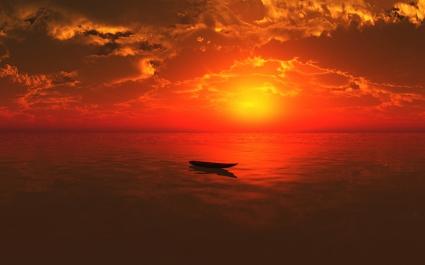 Alone Boat in Sea