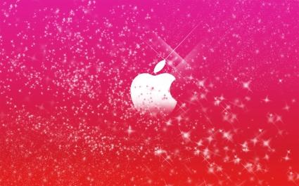 Apple Logo in Pink Glitters