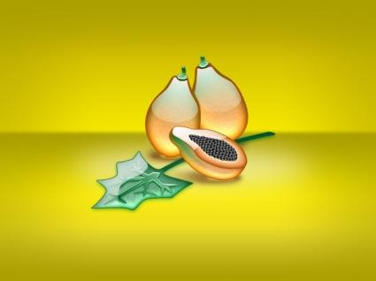 Aqua Papaya Wallpaper Abstract 3D