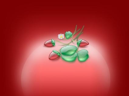 Aqua Strawberries Wallpaper Abstract 3D