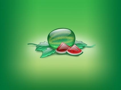Aqua Watermelon Wallpaper Abstract 3D