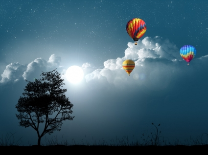 Balloon Night Wallpaper Photo Manipulated Nature