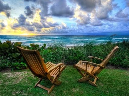 Beach Chairs Wallpaper High Dynamic Range Nature