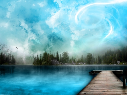 Blue is the answer Wallpaper Landscape Nature