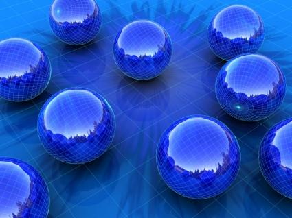 Blue Spheres Wallpaper 3D Models 3D