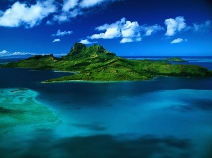 Bora Bora aerial view Wallpaper Landscape Nature