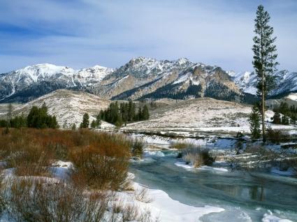 Boulder Mountains Wallpaper Winter Nature