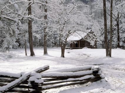 Carter Shields Cabin in Winter Wallpaper Winter Nature