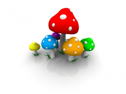 Colored Mushrooms Wallpaper Abstract 3D