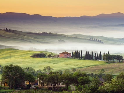 Country Villa Val d Orcia Wallpaper Italy World