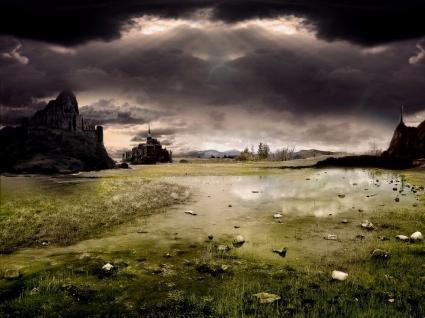 Dark Castle Wallpaper Landscape Nature