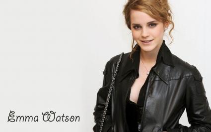 Emma Watson in Black Coat HD Wide