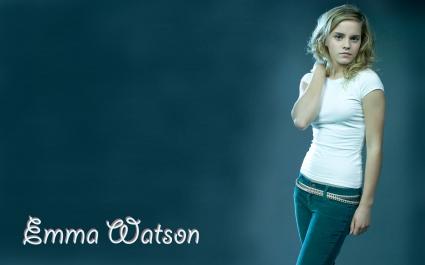 Emma Watson in Blue Jeans Wide