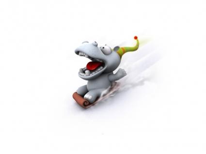 Funny Hippo Wallpaper 3D Characters 3D