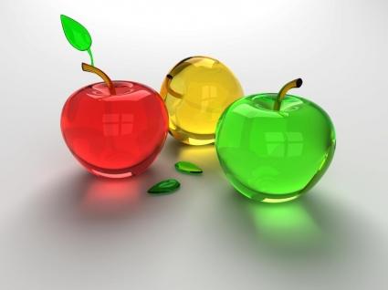 Glass Apples Wallpaper Abstract 3D